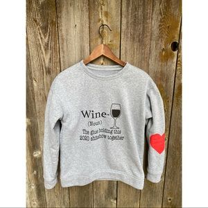UNBRANDED crewneck funny text wine sweater size S